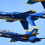 Closeup of Blue Angels in tight inverted formation at Chicago Air and Water Show